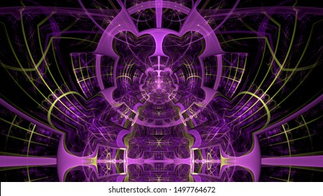 Abstract fractal background made out of intricate pattern of interconnected rings, arches and geometric patterns in glowing pink and yellow