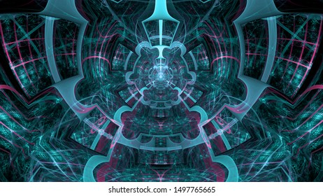 Abstract fractal background made out of intricate pattern of interconnected rings, arches and geometric patterns in glowing blue and pink