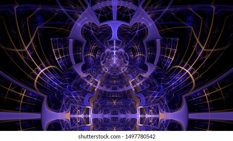 Abstract fractal background made out of intricate pattern of interconnected rings, arches and geometric patterns in glowing purple and yellow