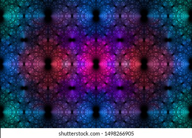 Abstract fractal background made out of a loopable intricate pattern of rings and arches in glowing blue,pink,violet,teal