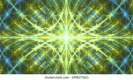 Abstract fractal background made out of   an intricate large central star with decorative beams, arches, rings and   rectangular tiles in shining green yellow and blue