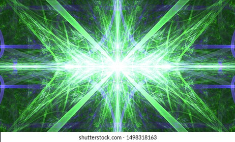 Abstract fractal background made out of   an intricate large central star with decorative beams, arches, rings and rectangular tiles in green,violet