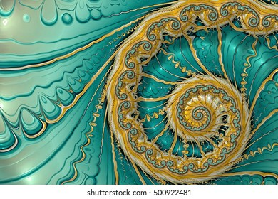 Abstract fractal background marine theme. Digital art: golden spiral on wavy background. For cards, covers, posters. Computer-generated image