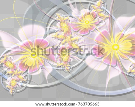 Abstract Fractal Background Spring Flowers Computergenerated Stock