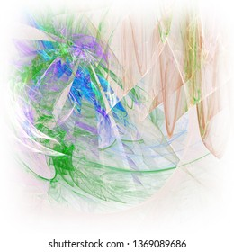 Abstract fractal background with white blurred edges.