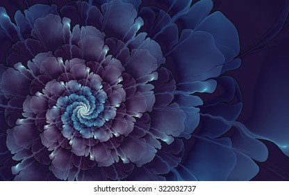 Abstract fractal, blue-violet spiral flower on black background, usable for desktop wallpaper or for creative cover design.