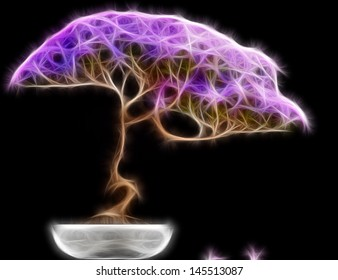 Abstract fractal Bonsai tree side view with a black background.