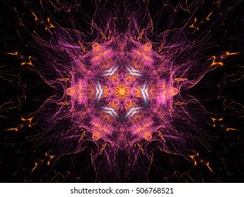 Abstract fractal colorful flower with rays on a black background