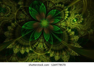 Abstract fractal floral background. Decorative glossy flower digital artwork graphic. Elegant and delicate Digitally generated Fractal pattern for art projects.