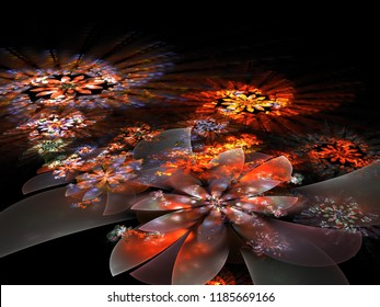 Abstract fractal flower illustration material