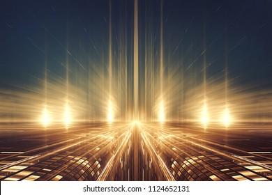 Paysage fractal futuriste ou autoroute intergalactique abstrait