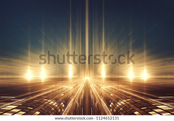 Abstract fractal futuristic alien landscape or intergalactic highway
