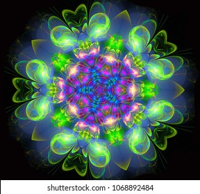 abstract fractal futuristic colourful flower pattern. 3d render illustration of a fractal. art fantasy pattern. digital art design element. abstract psychedelic background. kaleidoscope mandala