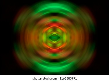 Abstract fractal green background with crossing circles and ovals. Magic illustration.