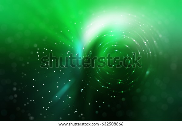 Abstract fractal green background with crossing circles and ovals. disco lights. elegant illustration