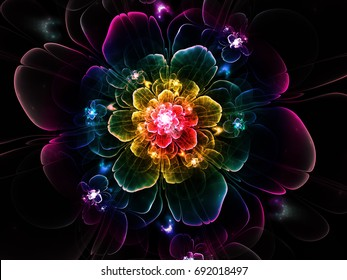 Abstract fractal Luxurious  flower computer-generated image. Beautiful abstract background for wallpaper, album, poster, booklet. Fractal digital artwork for creative graphic design.
