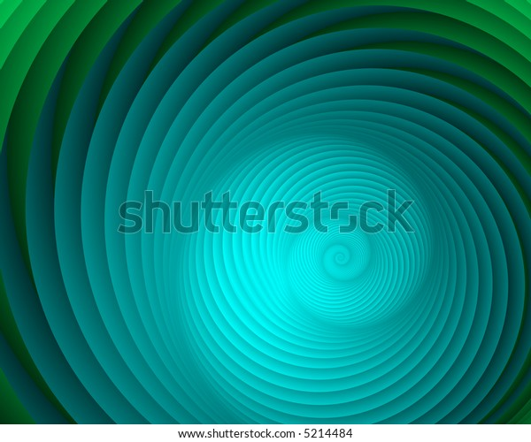 Abstract fractal nautilus in cool hues of aqua and green.