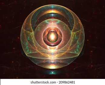 Abstract fractal orb composed of layers of colorful light
