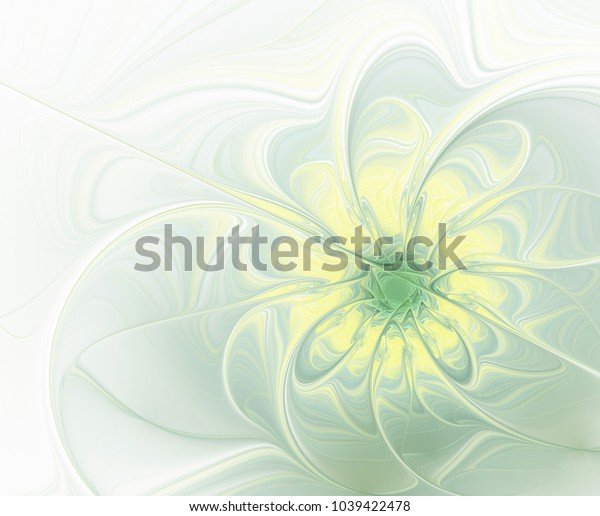 Abstract fractal patterned flower in pale green and yellow shades