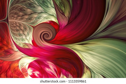 Abstract fractal patterns and shapes. Dynamic flowing natural forms. Flowers and spirals. Mysterious psychedelic relaxation pattern.