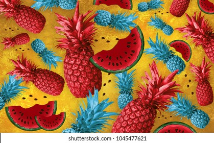 Abstract fruit background with colorful pineapples. Bright fruit concept. background with pineapple, watermelon