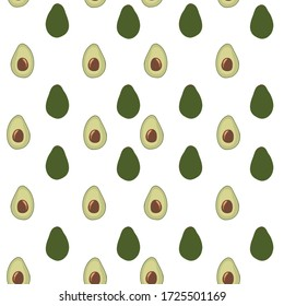 Abstract fruit pattern with avocado. Tropical seamless pattern with avocado in a hand-drawn simple style. Bright color in the illustration. Ornament for textiles and packaging, fabrics, postcards.