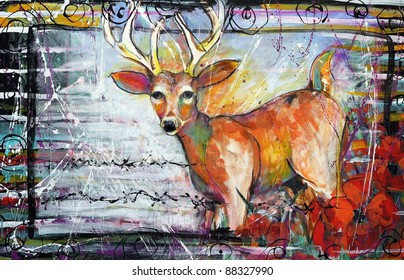 Abstract Funky Deer Painting