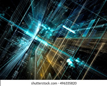 Abstract future technology background - computer-generated image. Fractal art: glass room or street of surreal city with light effects. Hi-tech or virtual reality concept.