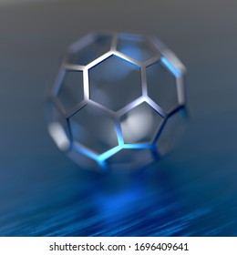 Abstract futuristic 3d rendering with pentagonals and hexagonals sphere. Contemporary sci-fi background with bokeh effect.