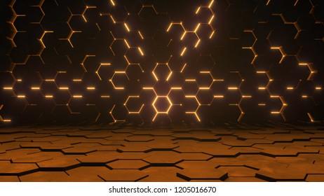 Abstract futuristic background. Hexagonal warm lighting. 3d render illustration
