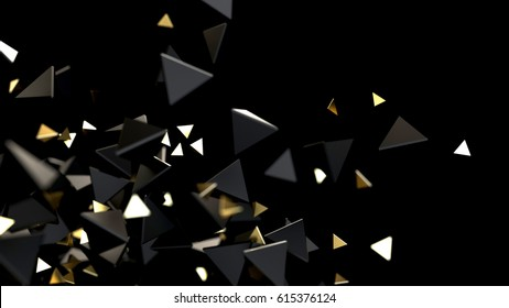 Abstract futuristic background with piramid particles. 3d rendering