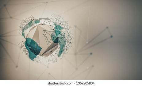 Abstract futuristic background with world, dots, lines and abstract geometric shapes, 3D abstract geometric design, conceptual design of new technologies with space for your text.
