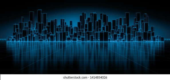 Abstract futuristic blocks city with wire frame in blue shade on mirror floor. Digital future architecture technology background concept. 3D render.