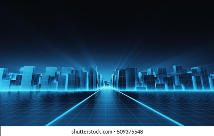 Abstract futuristic blocks city with wire frame in blue shade. 3D render
