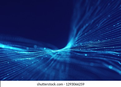 Abstract futuristic blue background. Technology glowing lines. Sci fi concept.