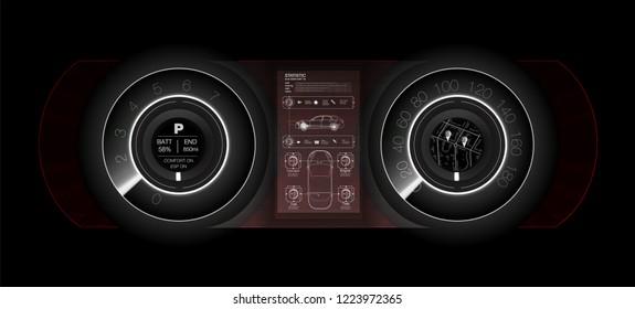 Abstract futuristic car dashboard in white, the concept of the future car dashboard.