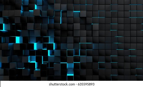 Abstract futuristic cubes shape background, 3d render illustration