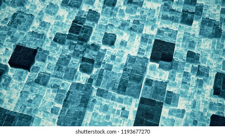 Abstract futuristic cubic surface 3D illustration. Dark blue voxel grid particle blocks moving up and down in waves on white. Technology, information and future concept background.