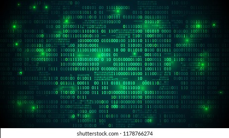 Abstract futuristic cyberspace with binary code, matrix background with digits