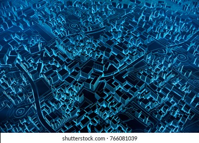 Abstract Futuristic Dark and line 3D Map of City, travel and tourism planning future technology concept. 3D illustration.