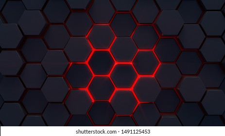 Abstract futuristic dark Metallic  Hexagons with Glowing red light ,3D Rendering.