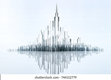 Abstract futuristic glass city or architectural building on white backgroud with light. Future technology concept for designer. 3d render.
