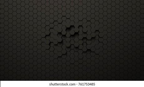 Abstract futuristic hexagonal background, 3d illustration