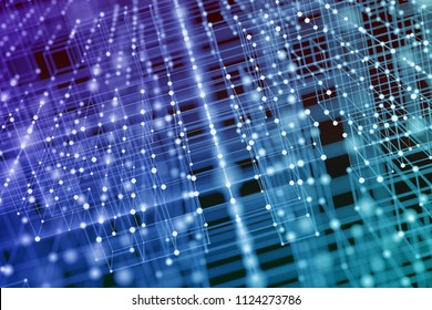 Abstract futuristic illustration of polygonal surface structure. Low poly shape with connecting dots and lines on dark background. 3D rendering