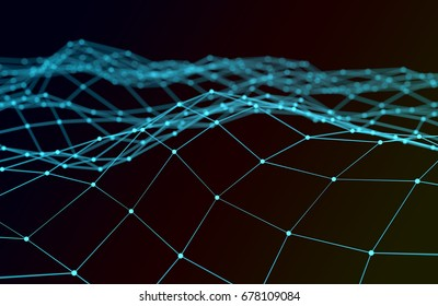 Abstract futuristic illustration of polygonal surface. Low poly shape with connecting dots and lines on dark background. 3D rendering