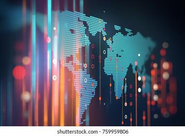 Résumé infographie Futuriste avec complexité des données visuelles , représente le concept Big Data, la programmation de base de noeuds