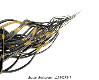 Abstract futuristic network cables isolated on white background. 3d illustration.