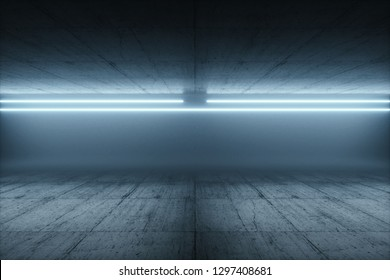 Abstract futuristic Sci-Fi with blue And white neon light shapes on black Background in fog. Reflective concrete with empty space for show or display. 3D Rendering - Illustration