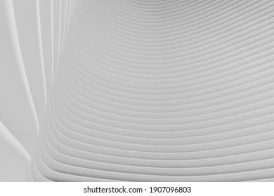 Arrière-Plan Abstrait Futuriste D'Architecture Vague. Bâtiment en cercle blanc. Conception de la technologie Futuriste minimale en tant que fond d'écran de texture urbaine géométrique. Motif de rendu 3d en gros plan