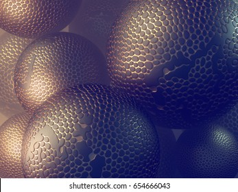 Abstract futuristic spheres with voronoi pattern gold areas. Shapes surrounded by yellow mist. 3d Render Illustration